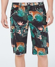 GUESS Men's Carter Stretch Wild Jungle-Print Twill Cargo Shorts