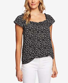 CeCe Printed Square-Neck Top