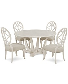 Trisha Yearwood Jasper County Dogwood Round Dining 5-Pc. Set (Table & 4 Side Chairs)
