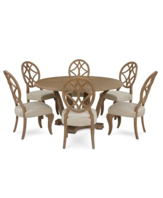Trisha Yearwood Jasper County Stately Brown Round Dining Furniture, 7-Pc. Set (Table & 6 Side Chairs)