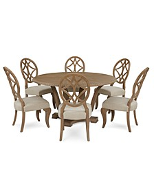 Trisha Yearwood Jasper County Stately Brown Round Dining 7-Pc. Set (Table & 6 Side Chairs)