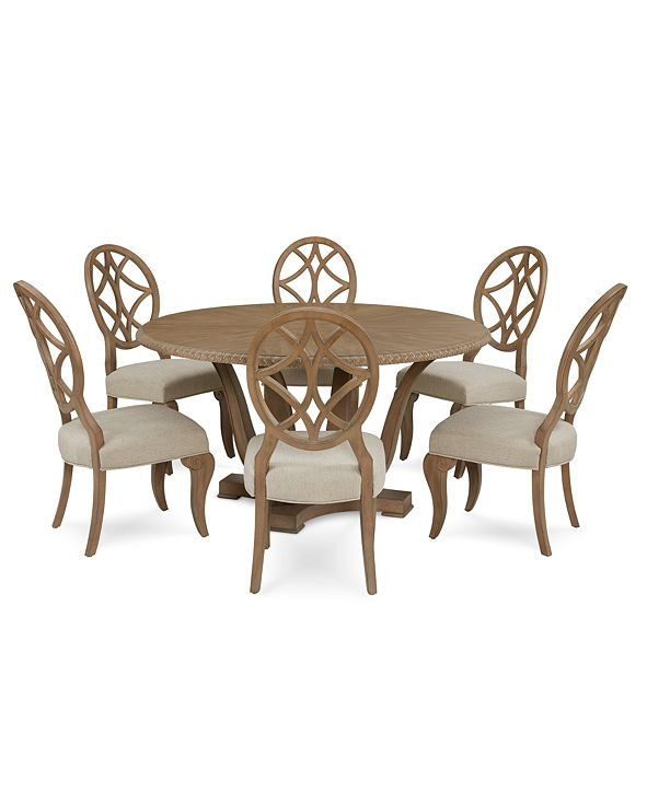 Furniture Trisha Yearwood Jasper County Stately Brown Round Dining Furniture, 7-Pc. Set (Table & 6 Side Chairs)