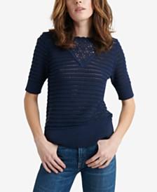 Lucky Brand Crochet Elbow-Sleeve Cotton Sweater