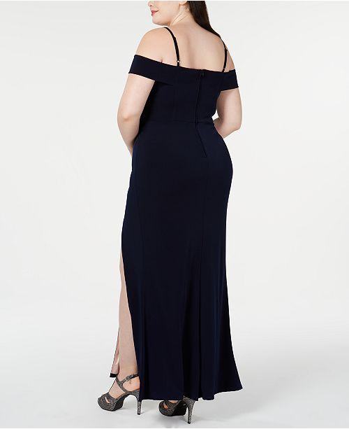 Trendy Plus Size Off-The-Shoulder Slit Gown