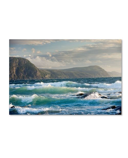 "Trademark Global Mike Jones Photo 'Newfoundland Sunset Surf' Canvas Art - 24"" x 16"" x 2"""
