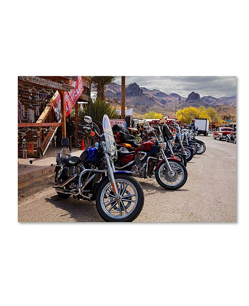 "Trademark Global Mike Jones Photo 'Rt 66 Fun Run Oatman Motorcycles' Canvas Art - 47"" x 30"" x 2"""