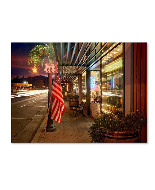 "Trademark Global Mike Jones Photo 'Williams Rt 66 Dusk' Canvas Art - 24"" x 18"" x 2"""