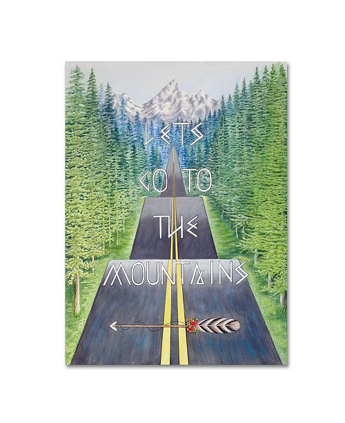 "Trademark Global Michelle Faber 'Mountain Travel Quote' Canvas Art - 32"" x 24"" x 2"""