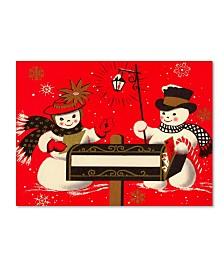 """Vintage Apple Collection 'Vintage Christmas Snowmen' Canvas Art - 19"""" x 14"""" x 2"""""""