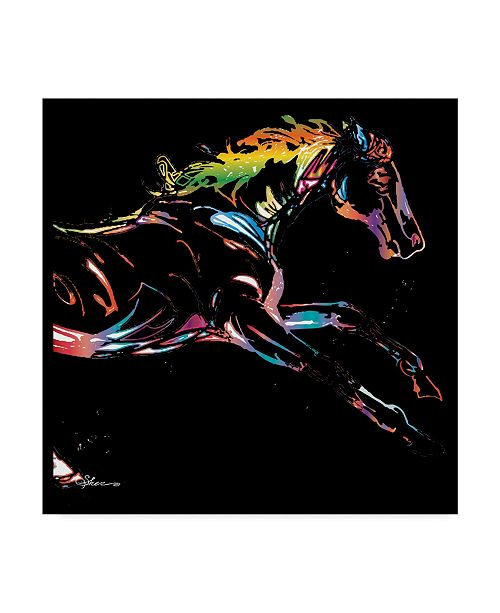 "Trademark Global Sher Sester 'Scribble Horse On Black' Canvas Art - 14"" x 14"" x 2"""