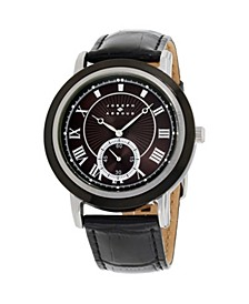 Men's Analog Black Leather Strap Watch 28mm