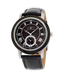 Joseph Abboud Men's Analog Black Leather Strap Watch 28mm