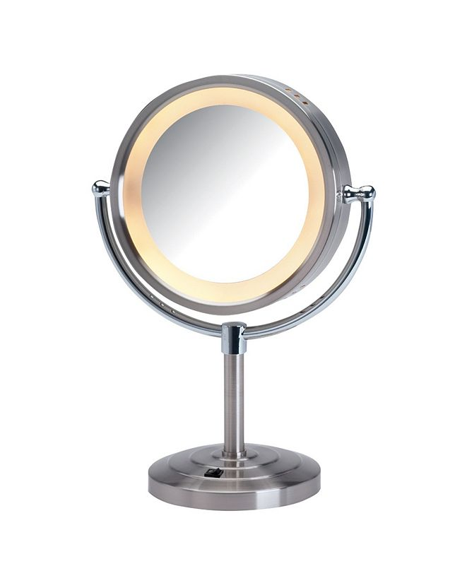 """Jerdon The HL745NC 8.5"""" Tabletop Two-Sided Halo Lighted Vanity Mirror"""