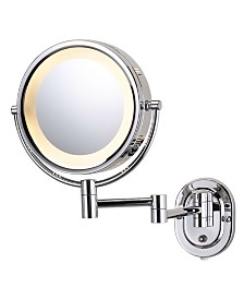"The Jerdon HL65C 8"" Lighted Wall Mount Makeup Mirror"