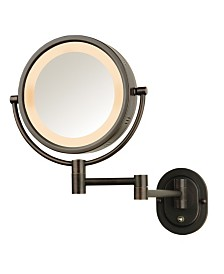 "The Jerdon HL65BZD 8"" Lighted Wall Mount Direct Wire Makeup Mirror"