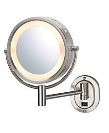"The Jerdon HL165ND 8"" Lighted Wall Mount Direct Wire Makeup Mirror"