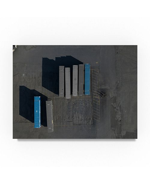 "Trademark Global Moises Levy 'Blue Shipping Crates' Canvas Art - 24"" x 18"" x 2"""
