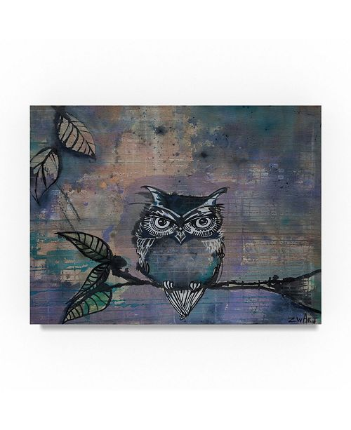 "Trademark Global Zwart 'Owl On A Branch' Canvas Art - 19"" x 14"" x 2"""