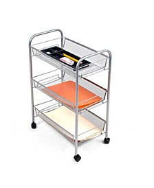 Rolling Metal Mesh 3 Shelf Cart