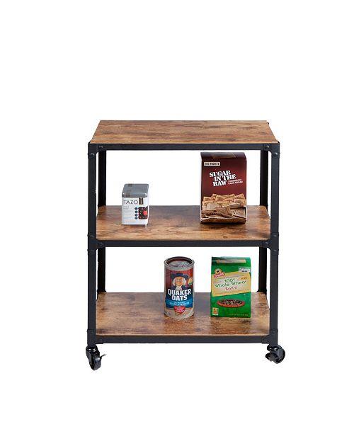 Mind Reader 3-Tier Wood Metal All Purpose Utility/Bar Cart
