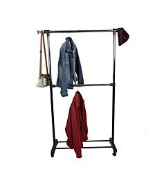 Adjustable Metal 2 Tier Double Rod Rolling Garment Rack