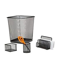 4 Piece Desk Organizer Set, Pencil Holder, Letter Tray, Supply Organizer with Trash Can