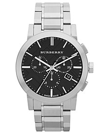 Burberry Watch, Men's Swiss Chronograph Stainless Steel Bracelet 42mm BU9351