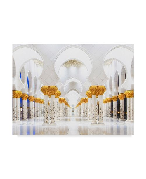 """Trademark Global Mohamed Raof 'White And Gold' Canvas Art - 24"""" x 2"""" x 18"""""""