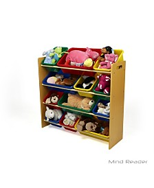 Mind Reader Toy Storage Organizer with 12 Storage Bins, Kids Storage for Bedroom