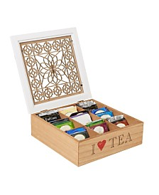Mind Reader Tea Box Storage Holder with Wood Floral Pattern