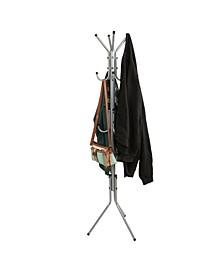 Standing Metal Coat Rack Hat Hanger 11 Hook for Jacket, Purse, Scarf Rack, Umbrella Tree Stand