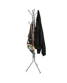 Mind Reader Standing Metal Coat Rack Hat Hanger 11 Hook for Jacket, Purse, Scarf Rack, Umbrella Tree Stand