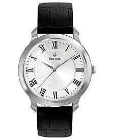 Bulova Men's Black Leather Strap Watch 41mm 96A133