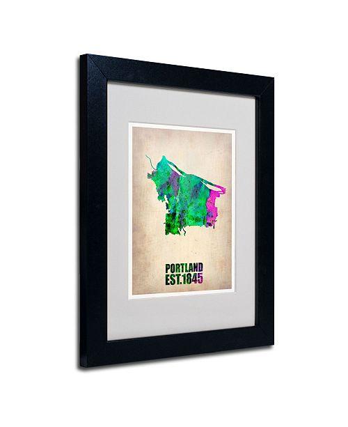 "Trademark Global Naxart 'Portland Watercolor Map' Matted Framed Art - 14"" x 11"" x 0.5"""
