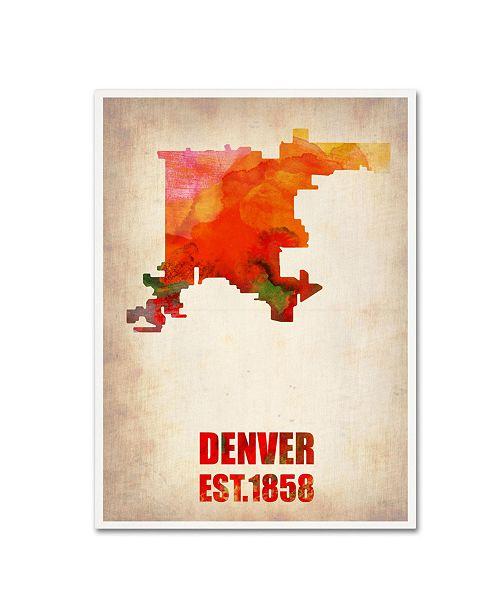 "Trademark Global Naxart 'Denver Watercolor Map' Canvas Art - 19"" x 14"" x 2"""