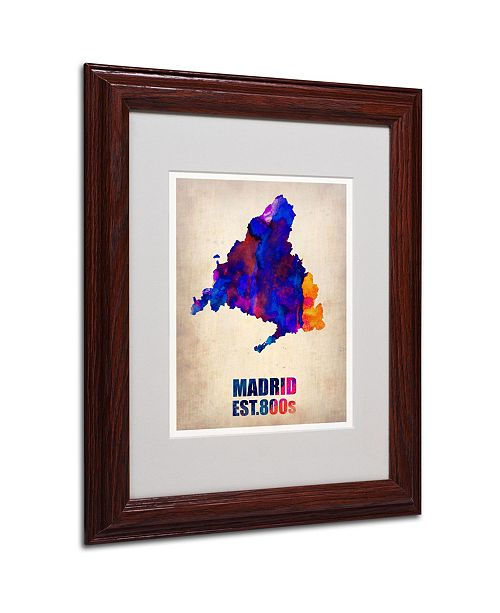 "Trademark Global Naxart 'Madrid Watercolor Map' Matted Framed Art - 11"" x 14"" x 0.5"""