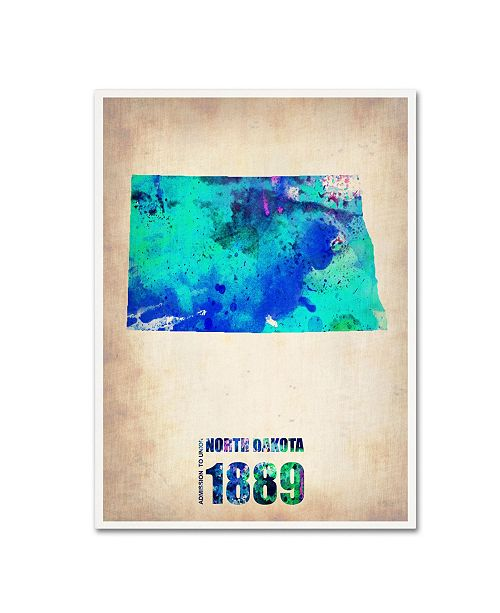"Trademark Global Naxart 'North Dakota Watercolor Map' Canvas Art - 24"" x 32"" x 2"""