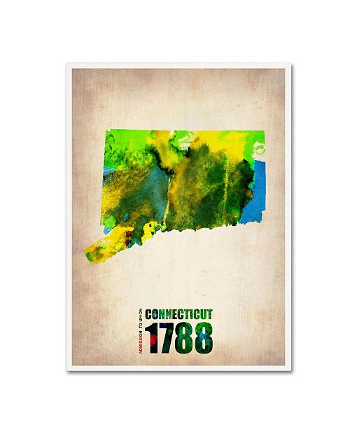 "Trademark Global Naxart 'Connecticut Watercolor Map' Canvas Art - 19"" x 14"" x 2"""