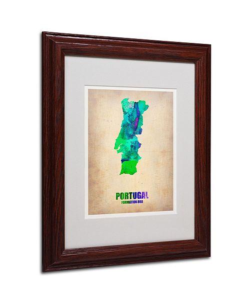 "Trademark Global Naxart 'Portugal Watercolor Map' Matted Framed Art - 11"" x 14"" x 0.5"""
