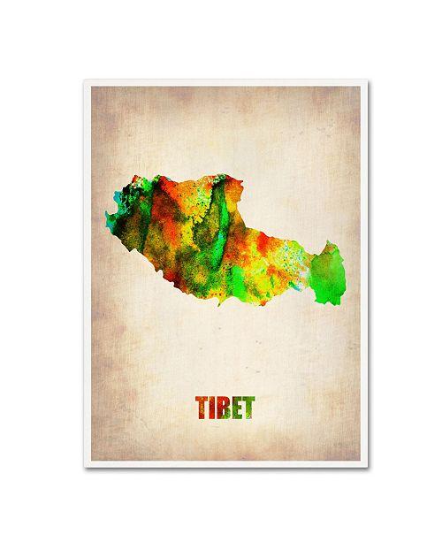 "Trademark Global Naxart 'Tibet Watercolor Map' Canvas Art - 19"" x 14"" x 2"""