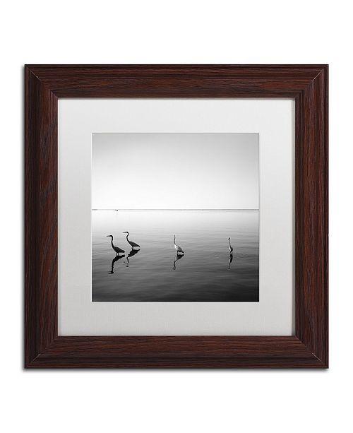 "Trademark Global Moises Levy '4 Herons' Matted Framed Art - 11"" x 11"" x 0.5"""