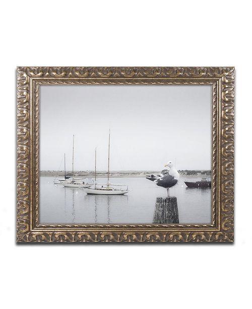 """Trademark Global Moises Levy 'Four Boats & Seagull' Ornate Framed Art - 14"""" x 11"""" x 0.5"""""""