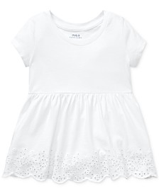 Polo Ralph Lauren Toddler Girls Eyelet-Embroidered Cotton Top
