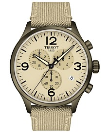 Tissot Men's Swiss Chronograph Chrono XL Beige Fabric Strap Watch 45mm