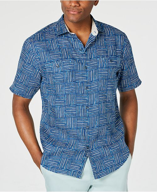 Tommy Bahama Men's Lei Como Check Geo-Print Linen Camp Shirt
