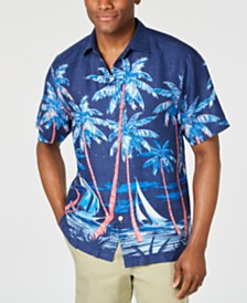 Tommy Bahama Men's Midnight Marina Hawaiian Linen Camp Shirt