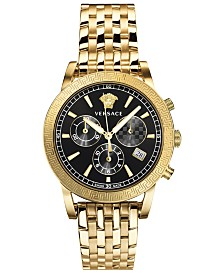 Versace Women's Swiss Chronograph Gold-Tone Stainless Steel Bracelet Watch 40mm