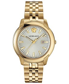 Versace Men's Swiss V-Urban Gold-Tone Stainless Steel Bracelet Watch 42mm