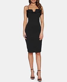 Bardot Ruffled Midi Sheath Dress