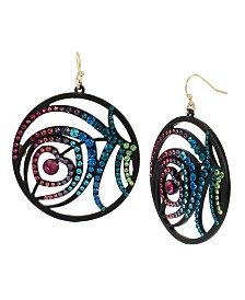 Betsey Johnson Peacock Feather Round Drop Earrings
